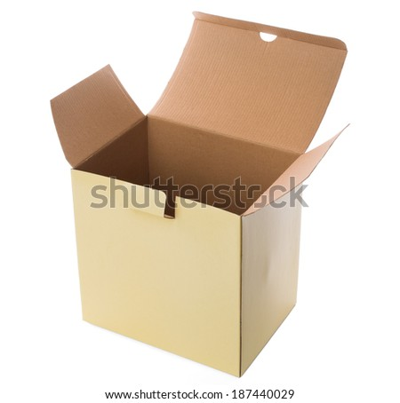 small carboard box on a white background - stock photo