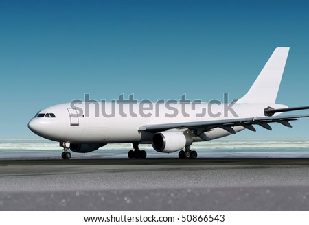 small cargo airplane is landing to runway of airport - stock photo