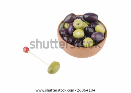 small casserole ceramic and olives - stock photo