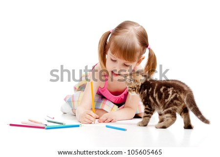 small cat watching at drawing child girl - stock photo
