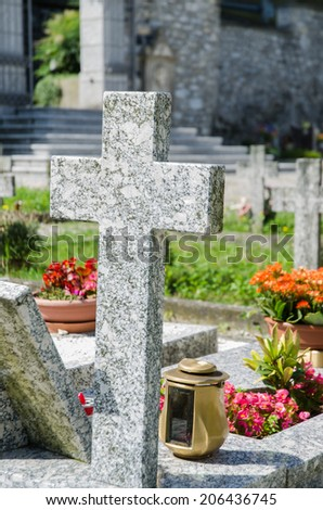 Small cemetery in Italy on summer day - stock photo