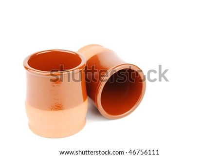 small ceramic planting pots isolated on white background - stock photo