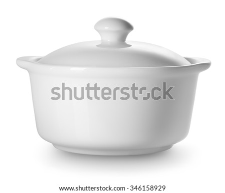 Small ceramic tureen isolated on a white background - stock photo