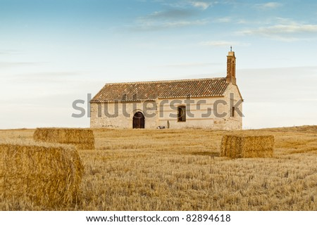 Small chapel in a rural landscape in Ciudad Real Province, Spain - stock photo