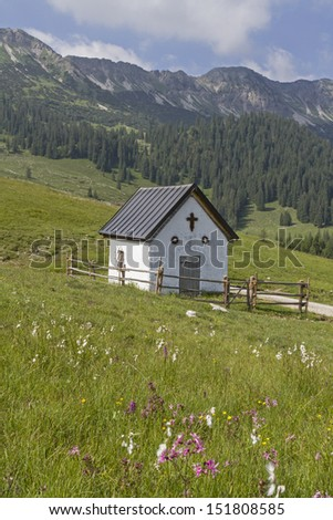 Small chapel in front of the summit of Karwendel mountains