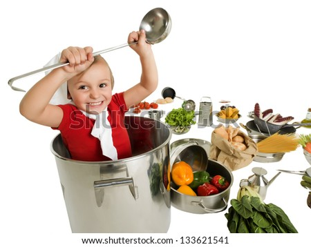 Small chef in large pot - stock photo