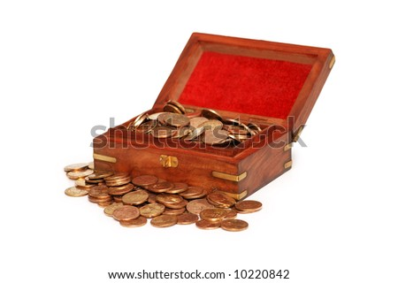 Small chest full of coins isolated on white - stock photo