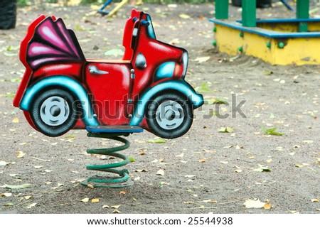 small child car on playground - stock photo