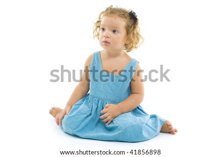 Small Child Girl on white - studio shot .