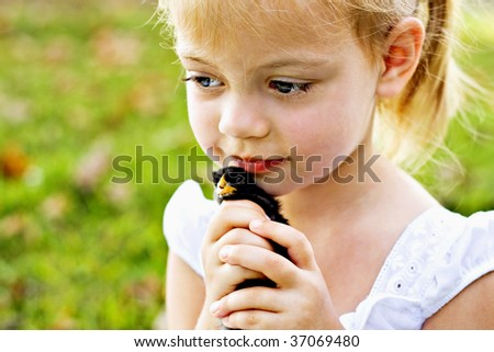Small child holding a little black chick tenderly against her cheeks.
