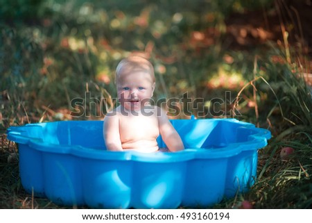 Small Child Tub Bathing Outdoors Summer Stock Photo 493160194 ...