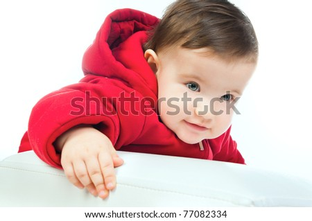 small child isolated on a white background - stock photo