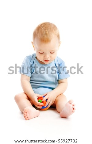 small child isolated on white - stock photo