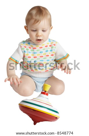 small child plays a toy. on white - stock photo