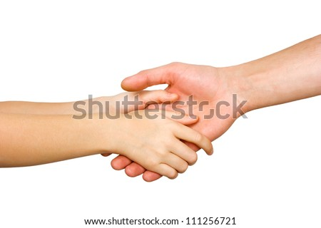 small child's hand holding on to a big hand man isolated on white background