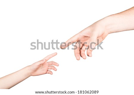 small child's hand reaches for the big hand man isolated on white background - stock photo