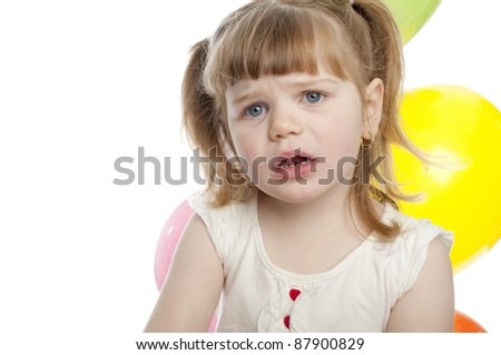 small child with a sad expression on her face
