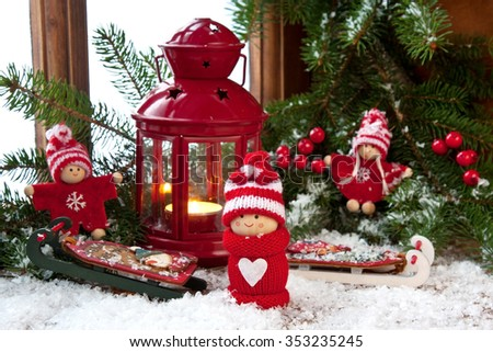 Small children christmas winter puppet figures with  colorful  decoration