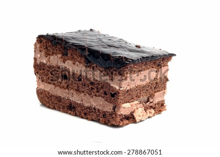 small chocolate cake isolated on white background