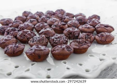 Small chocolate chip muffins - stock photo