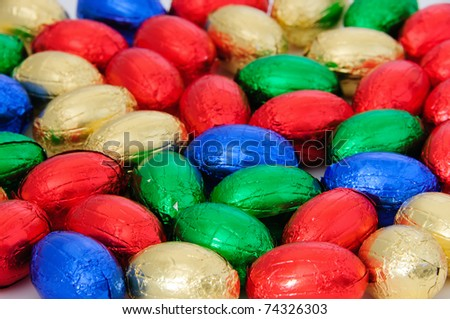 small Chocolate eggs a Traditional Easter sweet - stock photo