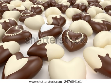 small chocolate valentine  hearts candy on white background - stock photo