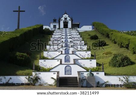"""small church """"Ermida da Nossa Senhora da Paz"""" at Sao Miguel (Acores) - stock photo"""