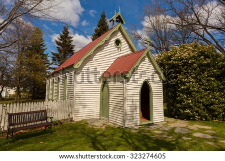 small church in Arrowtown ,New Zealand with blue sky background - stock photo