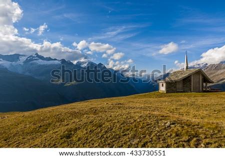 Small church in Gornergrat, Switzerland - stock photo
