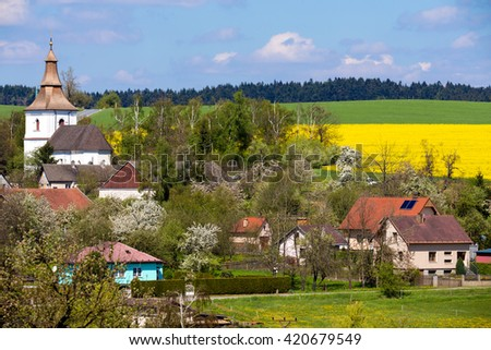 Small church in village in Czech republic Priseka. Beautiful view to spring vysocina countryside. Rural scene