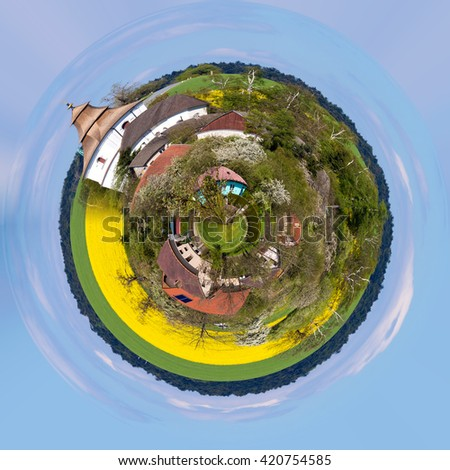 Small church in village in Czech republic Priseka. Beautiful view to spring vysocina countryside. Rural scene. Tiny countryside planet. - stock photo