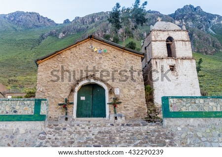 Small church in village Malata in Colca canyon, Peru - stock photo