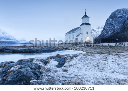 small church on lofoten islands, norway - stock photo