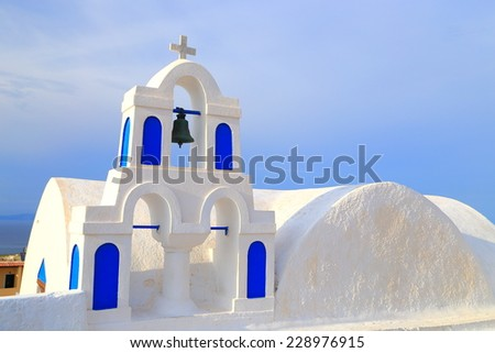 Small church on the island of Santorini, Greece - stock photo