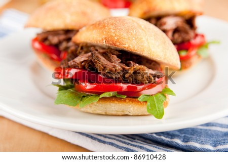 Small Ciabatta Sandwiches with Grilled Bell Peppers, Tomatoes, Arugula and Pulled Beef - stock photo