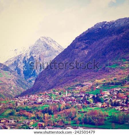 Small City at the foot of the Italian Alps, Instagram Effect - stock photo