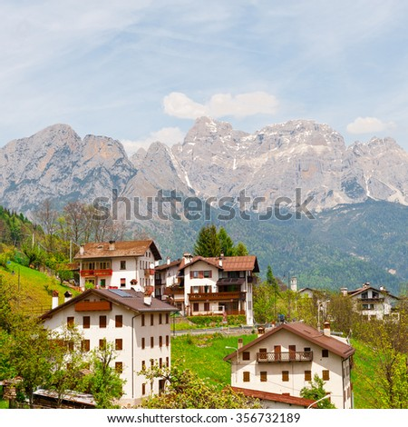 Small City High up in the Italian Alps - stock photo