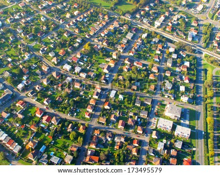 Small city on aerial view. - stock photo