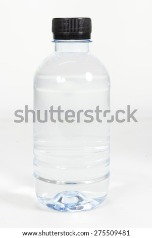 Small clear plastic water bottle - stock photo