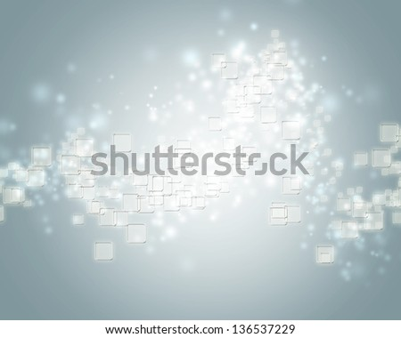 Small clear square icons on blue gray background - stock photo