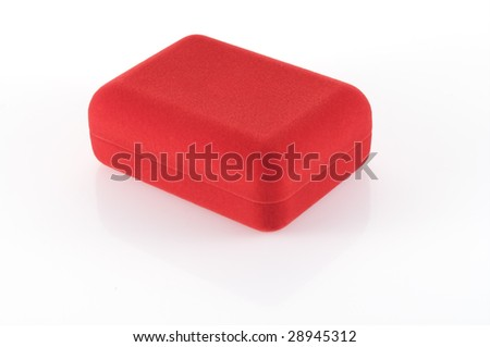 small closed red velvet box isolted on white with clipping path