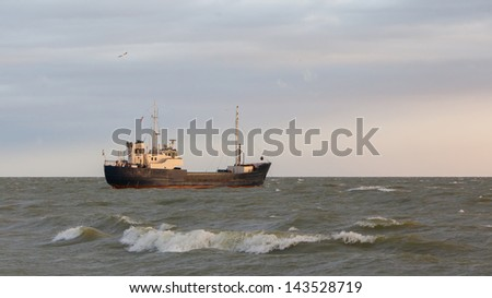 Small coastal vessel in the waters of the dutch Ijsselmeer, Holland