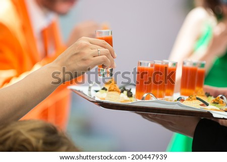 small cocktails and starters - stock photo