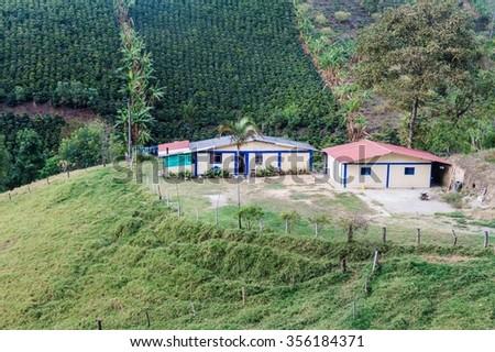 Small coffee farm near Salento village, Colombia - stock photo