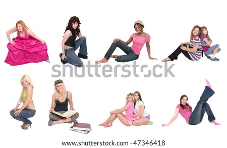 small collage group of full length females over white in squatting or sitting position near the ground - stock photo