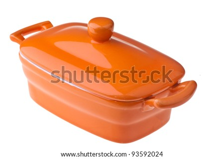 small colored ceramic pot on a white background