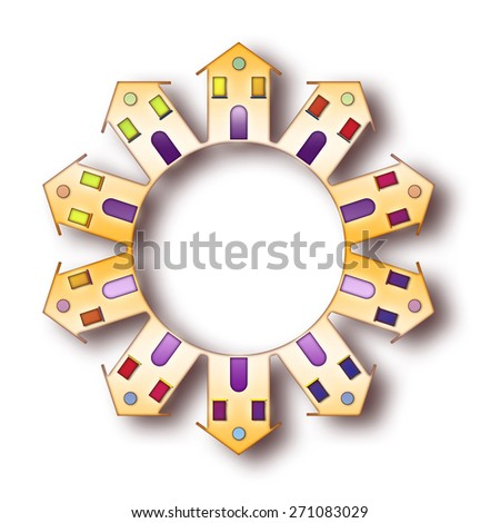 Small colored houses around a center - global village concept image - stock photo