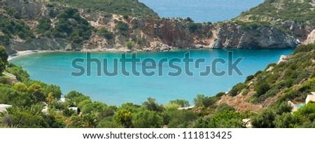 Small colourful bay near Istron. Mirabello gulf. Crete. Greece - stock photo