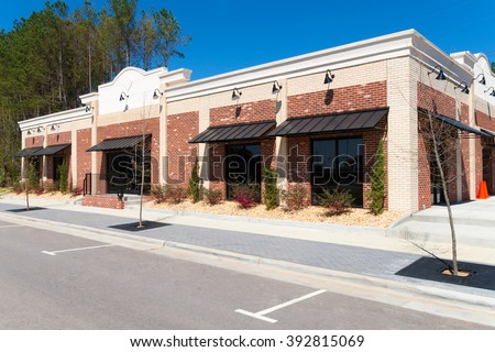 Small commercial retail building - stock photo