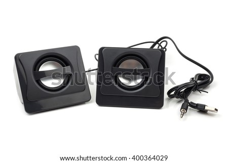 Small computer black speakers on white background. - stock photo